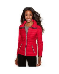 Guess - Red Quilted Packable Puffer - Lyst