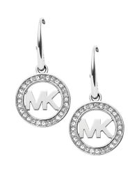 Michael Kors | Metallic Pave Logo Drop Earrings | Lyst