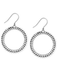 Lucky Brand | Metallic Silver-tone Dangle Hoop Earrings | Lyst