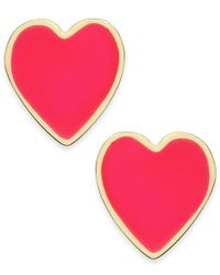 kate spade new york | Pink Gold-tone Colorful Heart Stud Earrings | Lyst