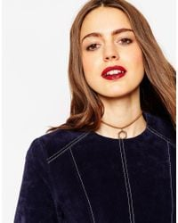 ASOS | Brown Open Shape Charm Suede Choker Necklace | Lyst