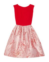 Alice + Olivia | Red Kirie Silk and Metallic Jacquard Dress | Lyst