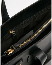 ASOS - Black Leather Handheld Bag With Front Slit Pocket - Lyst