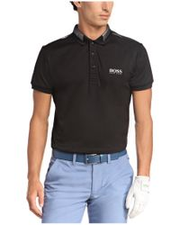 BOSS Green - Black 'paddy Pro' | Modern Fit, Moisture Manager-uv Polo Shirt for Men - Lyst