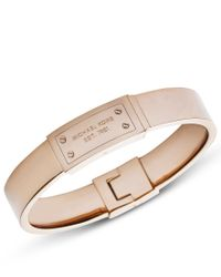 Michael Kors - Pink Heritage Rose Gold Plague Bangle - Lyst