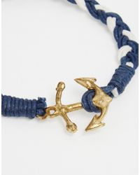 ASOS | Plaited Bracelet With Anchor In Blue for Men | Lyst