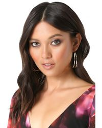 Bebe - Metallic Double Row Hoop Earrings - Lyst