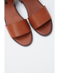 Forever 21 - Brown Faux Leather Buckled Sandals - Lyst