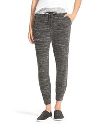 Splendid - Gray Space Dye Crop Jogger Pants - Lyst