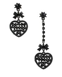 Betsey Johnson | Pitch Black Mismatched Drop Earrings | Lyst