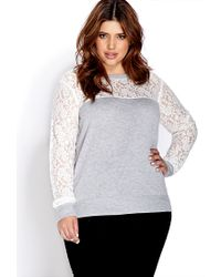 Forever 21 | Gray Plus Size Romantic Floral Lace Sweater | Lyst