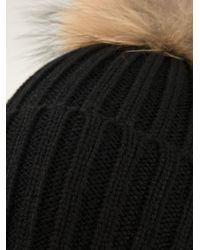 Meteo by Yves Salomon - Black Ribbed Beanie Hat - Lyst