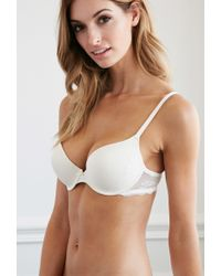 Forever 21 - White Lace-trim Push-up Bra - Lyst
