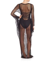 Norma Kamali - Black Long Fishnet Dress - Lyst