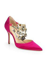 Manolo Blahnik | Pink Zullin Satin Jeweled D'orsay Pumps | Lyst