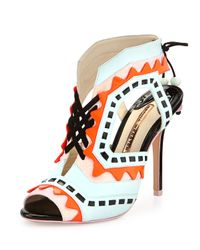 Sophia Webster - Blue Riko Color-Blocked Leather Sandal - Lyst