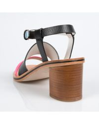 Paul Smith - Women's Black Leather 'castle' Sandals With Contrasting Straps - Lyst