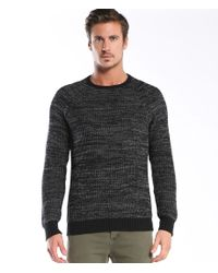 Michael Stars | Black Space Dye Ribbed Stitch Crew Neck for Men | Lyst