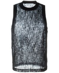 T By Alexander Wang - Black Crinkled Knit Tank Top - Lyst