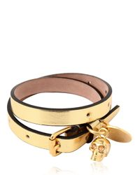 Alexander McQueen - Metallic Glow Web Leather Swaroski Skull Bracelet for Men - Lyst