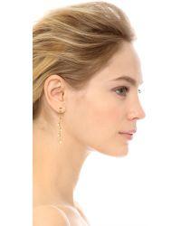 Rebecca Minkoff | Metallic Five Stone Linear Earrings - Gold/crystal | Lyst