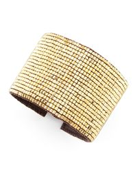 Love Heals | Metallic Beaded Leather Cuff | Lyst