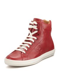 Bally - Red Oxen Logo-Embossed High-Top Sneaker for Men - Lyst