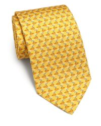 Ferragamo - Metallic Tugboat-print Silk Tie for Men - Lyst