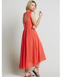 Free People | Orange Womens Meadows Embroidered Maxi | Lyst