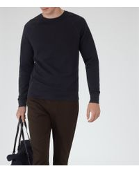 Reiss | Blue Forge Stitch Panel Sweatshirt for Men | Lyst