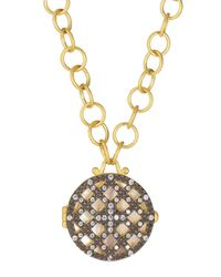Freida Rothman | Metallic 14k Vermeil Cz Cage Locket Link Chain Necklace | Lyst