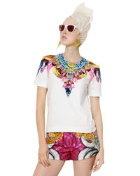 Manish Arora | White Printed Beaded Peached Cotton Top | Lyst