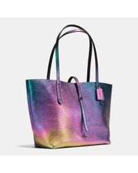 COACH - Multicolor Market Hologram Leather Tote - Lyst