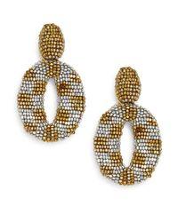 Oscar de la Renta | Metallic Beaded Oval Drop Clip Earrings | Lyst