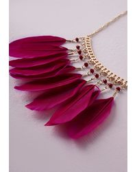 Missguided | Purple Feather Statement Necklace | Lyst