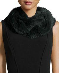 Jocelyn - Green Sheared Rabbit Fur Knitted Infinity Scarf - Lyst