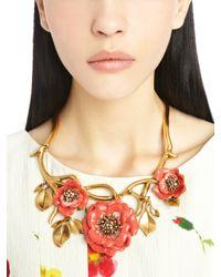 Oscar de la Renta - Metallic Painted Flower Necklace - Lyst