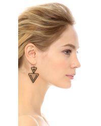 Miguel Ases - Onyx Triangle Earrings - Gold/black - Lyst