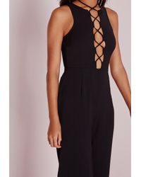 Missguided - Lace Up Front Jumpsuit Black - Lyst