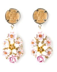 Dolce & Gabbana | Metallic Floral Drop Earrings | Lyst