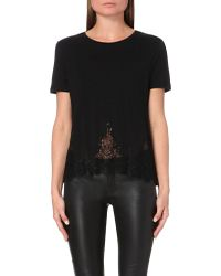 The Kooples | Black Lace-detail Jersey T-shirt | Lyst