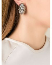 Roberto Cavalli | White Swarovski Embellished Clip-On Tear Drop Earrings | Lyst