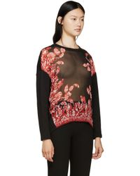 Giambattista Valli | Black And Red Printed Silk Pullover | Lyst