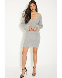 Forever 21 - Gray Mlm V-cut Back Sweater Dress - Lyst