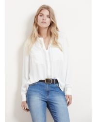 Violeta by Mango - White Patch Pocket Blouse - Lyst
