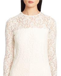 Lauren by Ralph Lauren | Natural Lace Long-sleeved Tee | Lyst