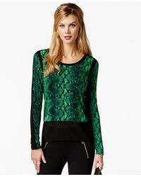 Michael Kors | Green Michael Petite Printed Contrast-trim Top | Lyst