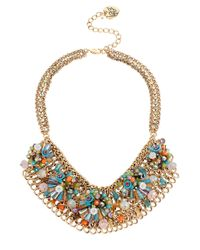 Betsey Johnson | Metallic Weave And Sew Woven Mixed Multi-colored Bead And Flower Mesh Bib Necklace | Lyst