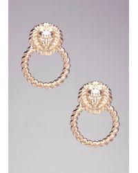 Bebe - Metallic Lion Door Knocker Earrings - Lyst