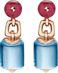 BVLGARI | Mvsa 18ct Pink-gold Earrings With Blue Topaz And Rubellite Beads - For Women | Lyst
